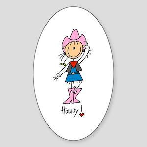 Howdy Cowgirl Oval Sticker