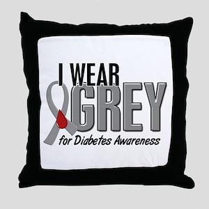 I Wear Grey 10 (Diabetes) Throw Pillow