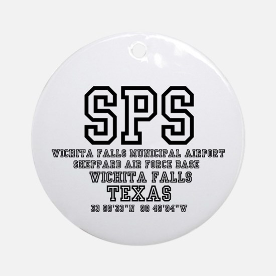 AIRPORT CODES - SPS - SHEPPARD AFB, Round Ornament