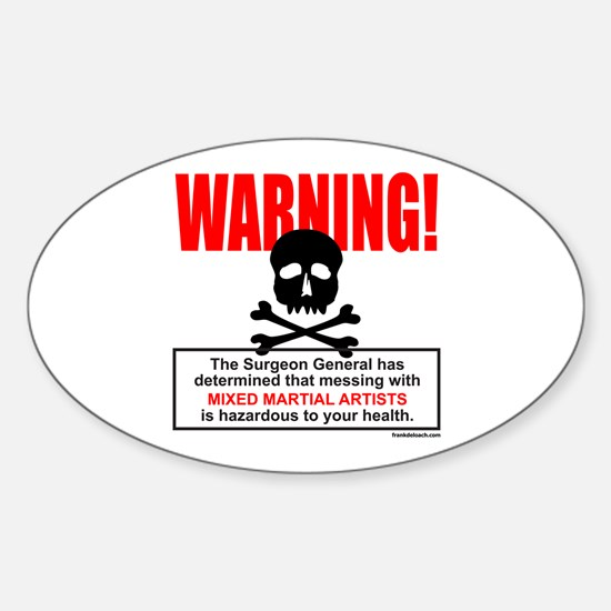 WARNING MMA Oval Decal