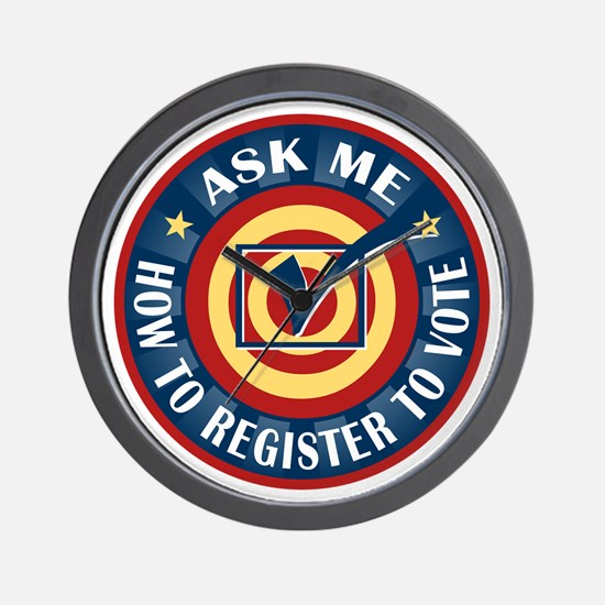Ask me how to register to Vote Wall Clock