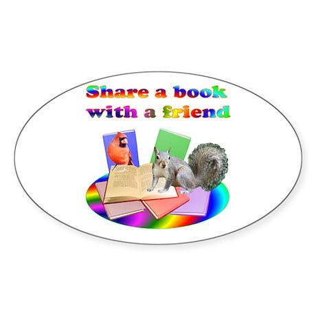 Share Books Oval Sticker (10 pk)