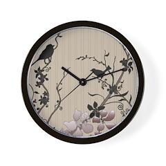 Birds & Cherry Blossoms Wall Clock