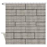Gray Woodgrain Shower Curtain