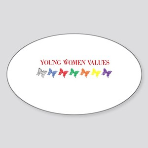 YOUNG WOMEN VALUES Oval Sticker