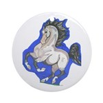 Noble Fantasy Grey horse Ornament (Round)