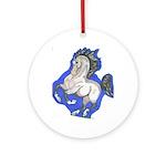 Noble Fantasy Grey horse Ornament (Round)