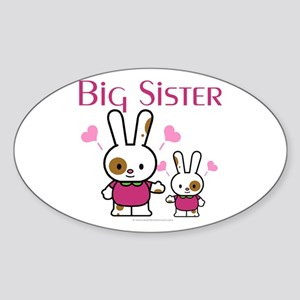 Bunnies Big Sister Oval Sticker
