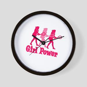Girl Power Tennis Logo Wall Clock