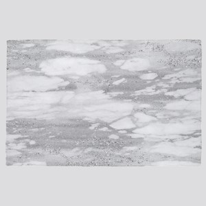 White & Gray Faux Marble 4' x 6' Rug