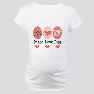 Peace Love Pigs Maternity T-Shirt