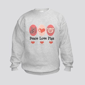 Peace Love Pigs Kids Sweatshirt