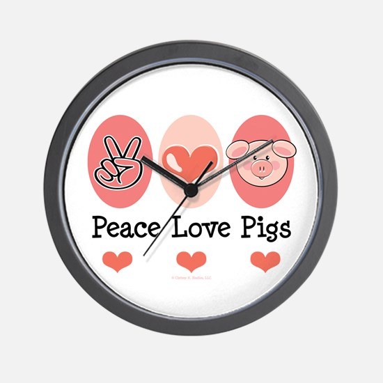 Peace Love Pigs Wall Clock