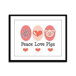 Peace Love Pigs Framed Panel Print