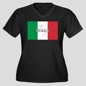 Italian Flag Extra Women's Plus Size V-Neck Dark T