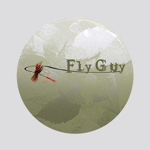 Fly Fishing Guy Ornament (Round)