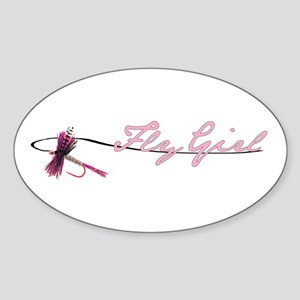 Fly Fishing Girl Oval Sticker