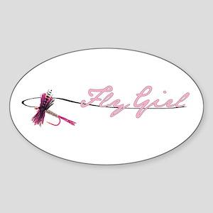 Fly Fishing Girl Oval Sticker