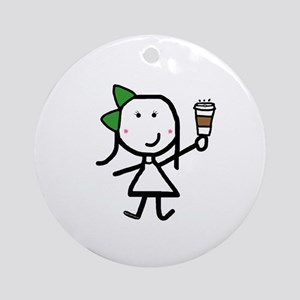 Girl & Coffee Ornament (Round)