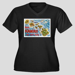 Hawaii HI Women's Plus Size V-Neck Dark T-Shirt