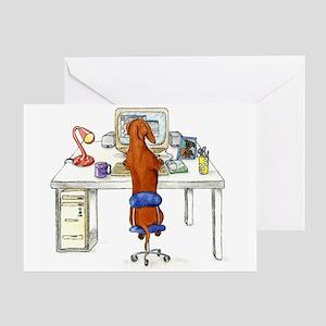 Computer Dachshund Greeting Card