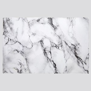 Luxury White Faux Marble 4' x 6' Rug