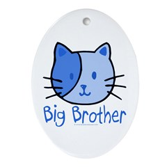 Cat Blue Big Brother Oval Ornament