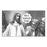 Jesus Wine Rectangle Sticker