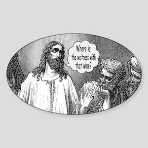 Jesus Wine Oval Sticker