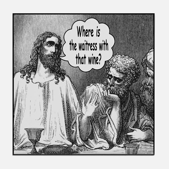 Jesus Wine Tile Coaster