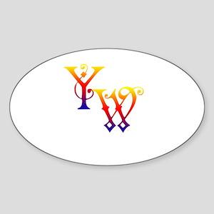 YW Oval Sticker