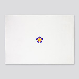 Flower Orange Blue Yellow Stack 5'x7'Area Rug