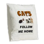 CATS Burlap Throw Pillow
