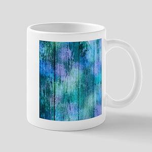 Iridescent Blue Wood Mugs