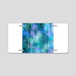 Iridescent Blue Wood Aluminum License Plate