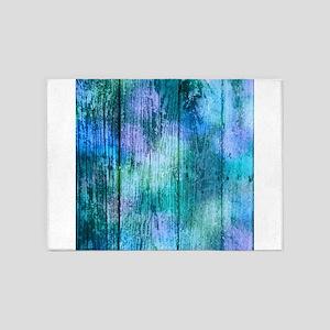 Iridescent Blue Wood 5'x7'Area Rug