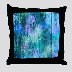 Iridescent Blue Wood Throw Pillow