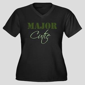 Major Cutie Women's Plus Size V-Neck Dark T-Shirt