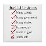 Checklist For Victims Tile Coaster