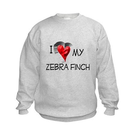 I Love My Zebra Finch Kids Sweatshirt