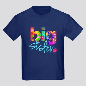 big sister t-shirt flower Kids Dark T-Shirt