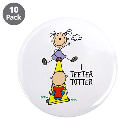 """I Teeter Totter 3.5"""" Button (10 pack)"""