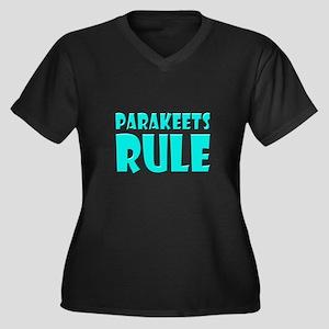 Parakeets Rule Women's Plus Size V-Neck Dark T-Shi