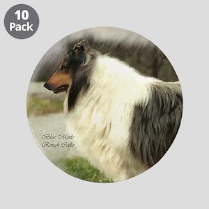 "Blue Merle Collie Art 3.5"" Button (10 pack)"