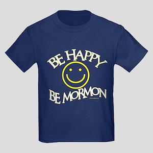 BE HAPPY BE MORMON Kids Dark T-Shirt