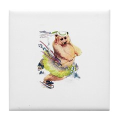 Skating Bear Tile Coaster