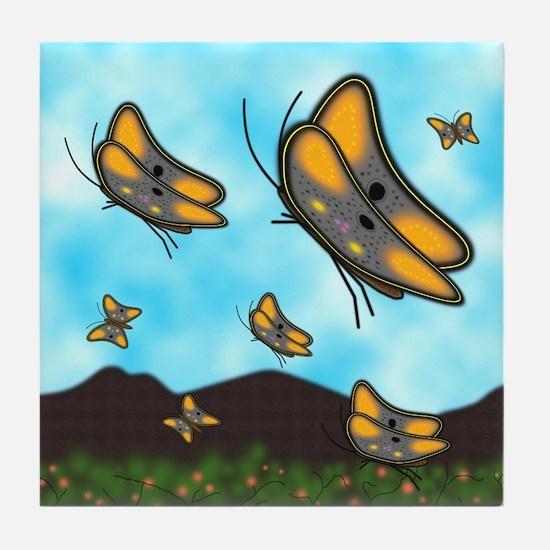 Butterflies In Flight - Tile Coaster