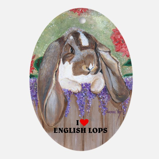English Lop Rabbit Oval Ornament