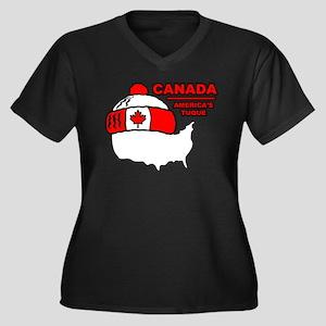 Funny Canada Women's Plus Size V-Neck Dark T-Shirt