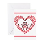 Hearts and paw prints Greeting Cards